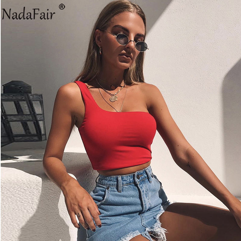 Nadafair One Shoulder Summer Tank Tops Women Sleeveless Wrap Casual Sexy Crop Tops White Black