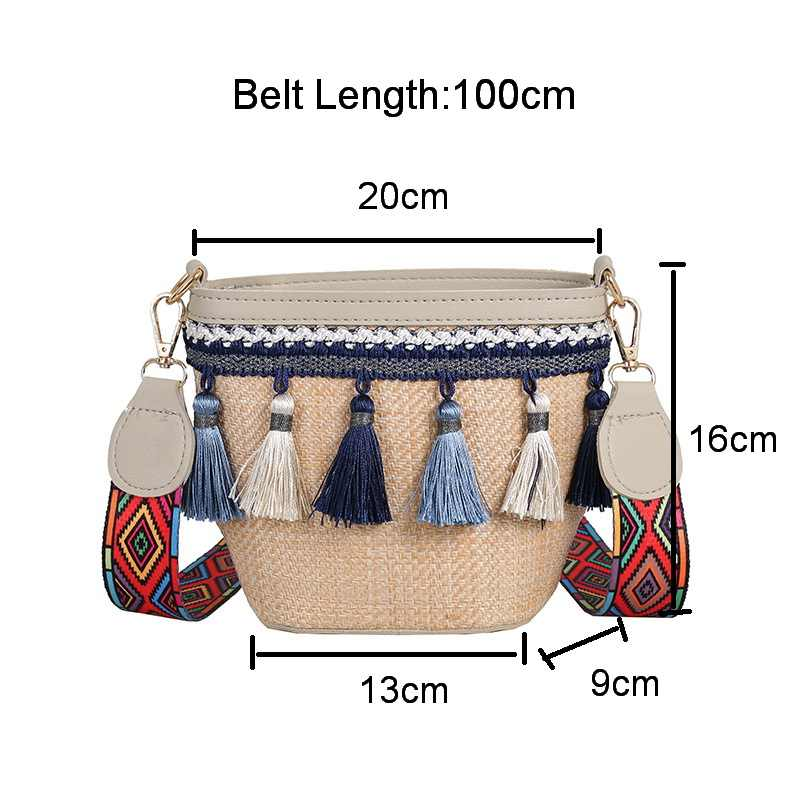Boho Verão Bolsa De Palha Mulheres Saco Crossbody Bag 2019 Cor Da Moda Borla Alça de Ombro Pequeno Saco de Tecelagem Praia