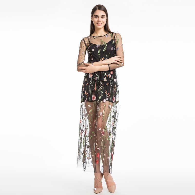 LERFEY женское платье в цветочек платье свободного покроя  летнее платье с вышивкой из двух частей сетчатое макси платье черного цвета  платье длинное сексуальное платье одежда vestidos