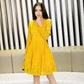 2016Women plus size elegant pinched waist Lace ball gown Dress long sleeve cultivating party Dress cute dress vestido XXXXL33909
