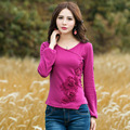 Comfortable Soft Knit Wool T Shirt Women Autumn Lantern Long Sleeve Casual Cross Design With Flowers Casual Tops Plus Size