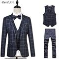 A cuadros Retro estilo gentleman trajes de hombre por encargo a medida traje trajes para hombres Blazer 3 unidades (Jacket + Pants + Vest) tamaño: 5XL 6XL