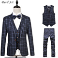 Plaid Retro gentleman style custom made Men's suits tailor suit Blazer suits for men 3 piece (Jacket+Pants+Vest) Size:5XL 6XL
