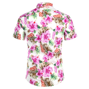 Image 2 - Hawaiian Camicette Mens Tropical Rosa Floreale Della Spiaggia di Estate Della Camicia Manica Corta Vacanza Abbigliamento Casual Hawaii Camicia Degli Uomini USA Taglia XXL