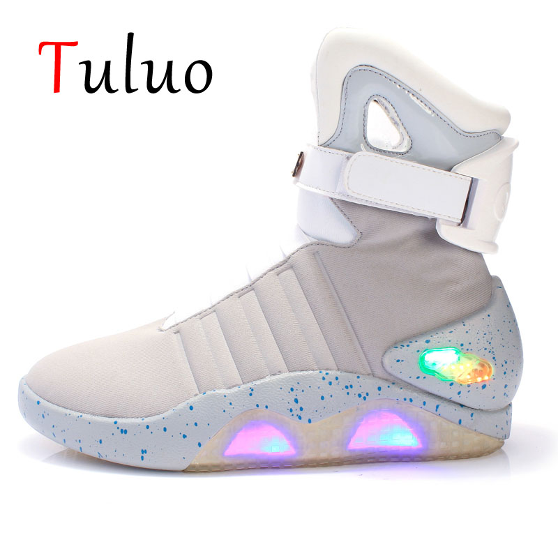 TULUO Back to Future Skateboarding Shoes Glowing Sneakers Men LED light Shoes Ankle Boots Cosplay Limited Edition With Usb Line