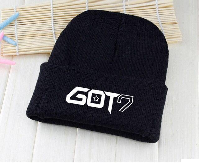 cyj kpop GOT7 Knitted hats Mark BamBam JB Jackson Junior YoungJae YuGyeom  black white winter hat a76758da66e