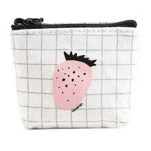 Women's Purse Girls Cute Fruit Pattern Fashion Canvas Snacks Coin Purses Zipper Small Wallet Bag Change Pouch Key Holder