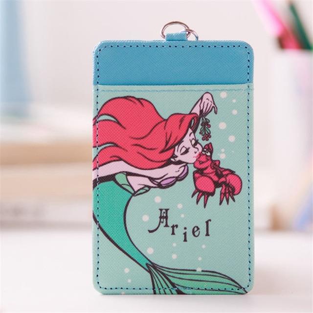 Disney Mermaid Princess plush purse coin Cartoon Card   ID Holders pendant Student Bus work ID Card case Access bank card