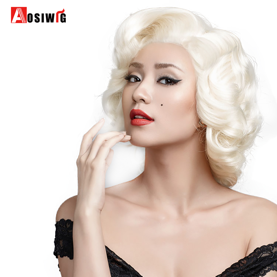 Short Curly Wig Light Glod Hair Heat Resistant Synthetic Hair Costumes Party Cosplay Wig For Women AOSIWIG
