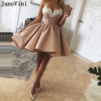 JaneVini Elegant Champagne High Low Homecoming Dresses Sweetheart Appliques Beaded Backless Satin Dress Graduation 2019 Charms