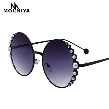 Luxury Oversized Round Sunglasses Women Fashion Cat Eye Pearl Sunglasses Vintage Brand Designer Sun Glasses Points Metal Frame цена 2017