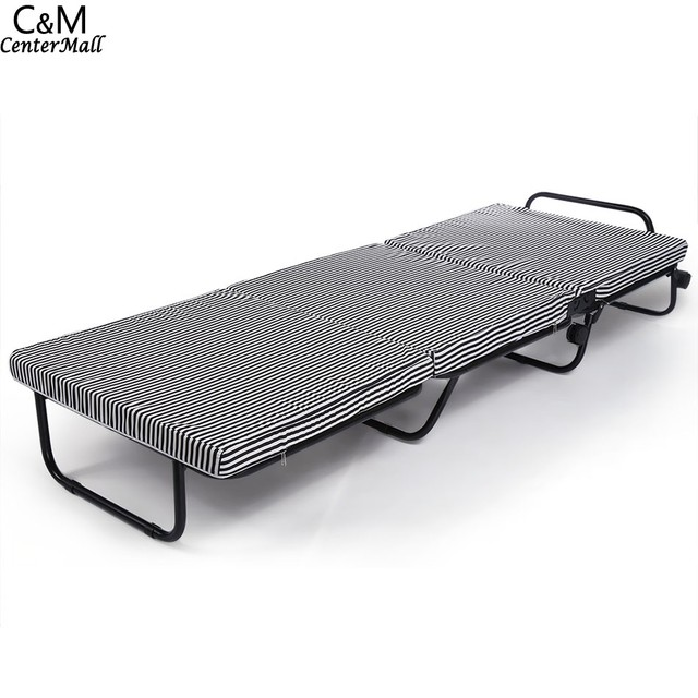 homdox portable bed inch trifolding foldable rollaway metal bedstead foam mattress