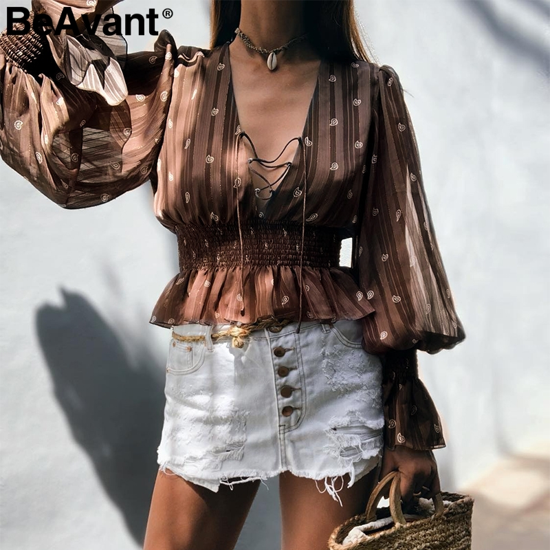 BeAvant Vintage Print Chiffon Blouse Women Lace Up Lantern Sleeve Ruffled Top Shirts Feminina V Neck Ladies Autumn Tops Blouses