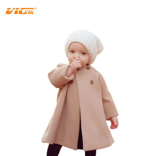 VICVIK Brand Girls Winter Coats Baby Long Coat Toddler Winter Coat Outwear for Kids Children Clothing Overcoat
