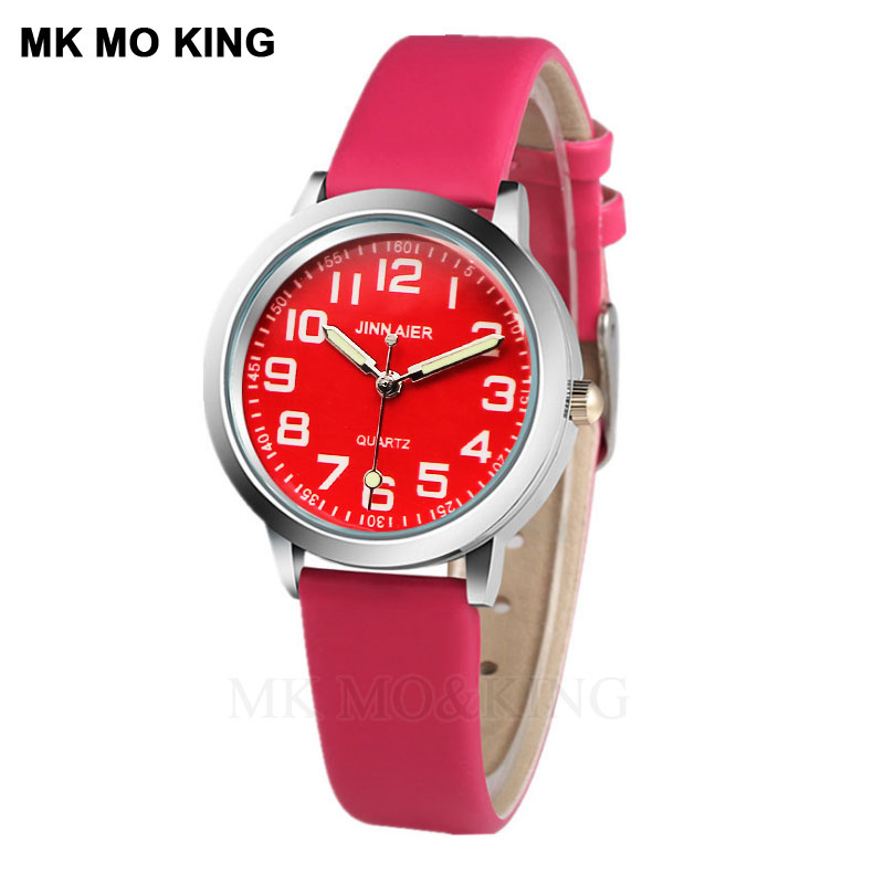 New Children's Fashion Watch Casual Red Pink Leather Quartz Boy Clock Christmas Party Girl Gift Relogio Kol Saati Clock