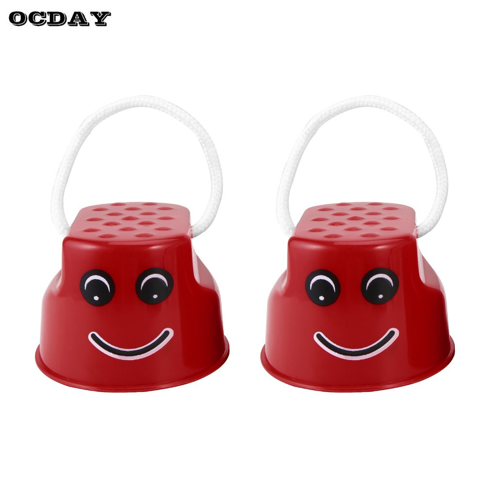 OCDAY 1 Pair Funny Plastic Walk Stilt Jump Children Kids Outdoor Fun Smile Face Pattern Sports Balance Training Toy Best Gift