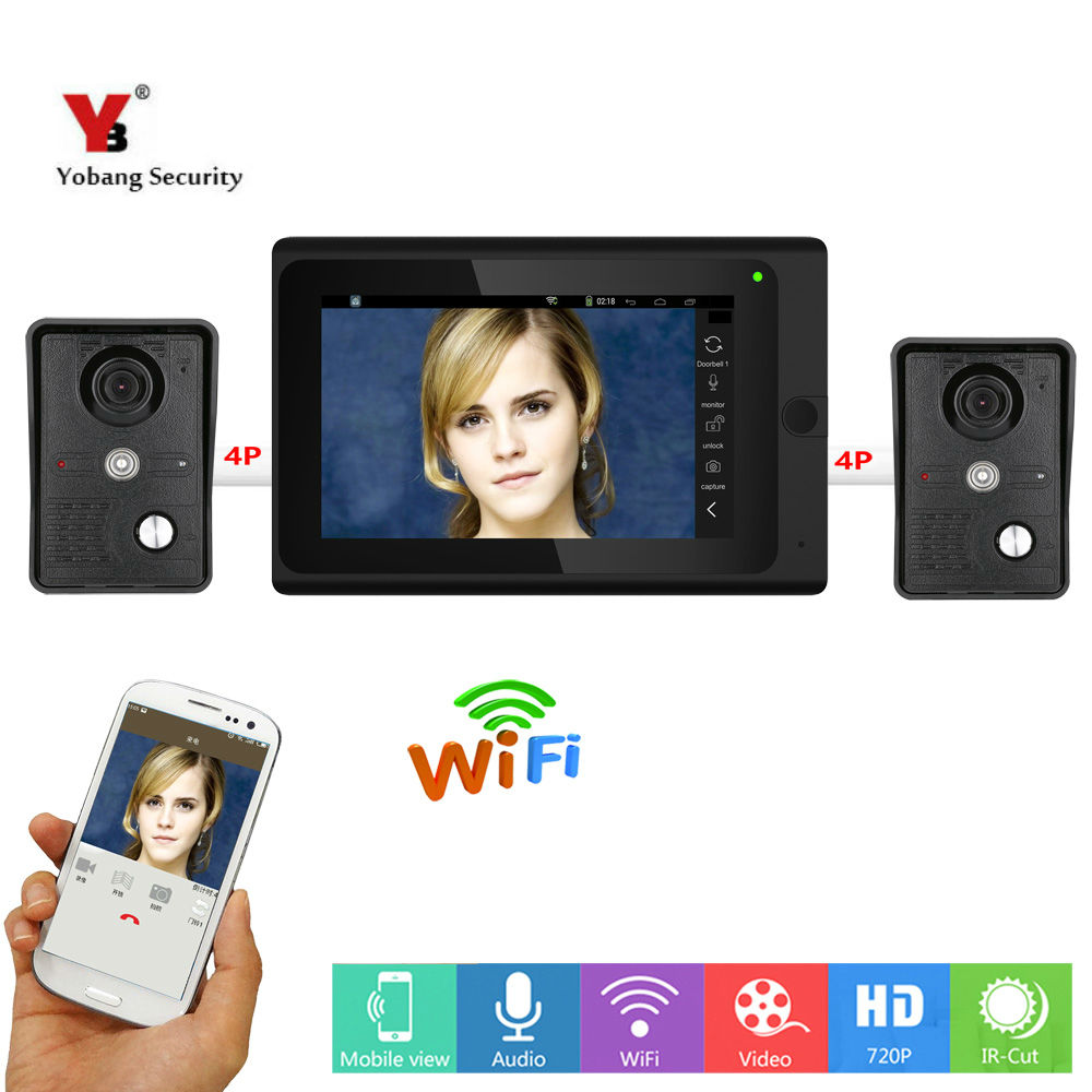 Yobang Security 7inch Wired Video Door Phone Wireless Wifi IP Doorbell Video Intercom Entry System With Rainproof Outdoor Camera yobang security free ship 7 video doorbell camera video intercom system rainproof video door camera home security tft monitor