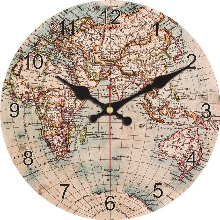 Fashion Vintage World Map Wall Clock Silent Living Study Kitchen Bath Room Home Wall Decoration Art Watches Large Clock No Sound
