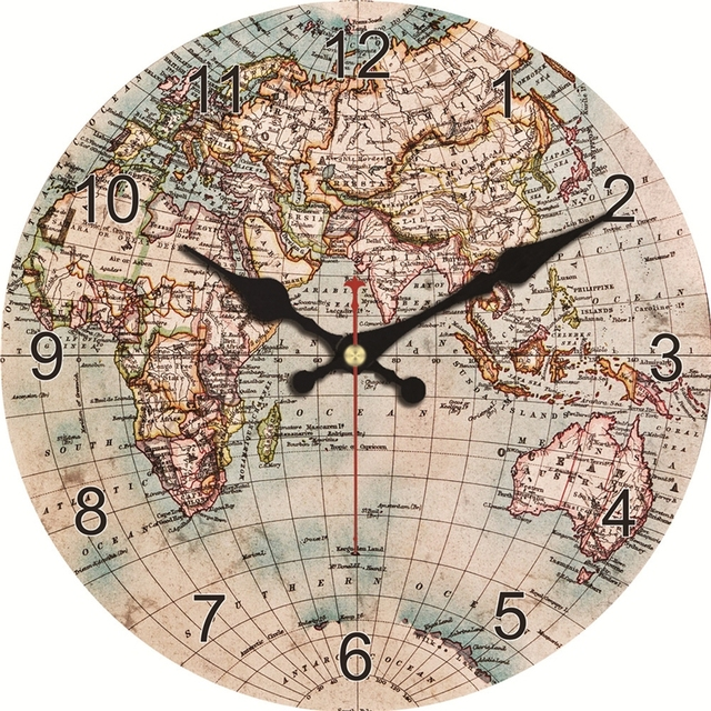 Vintage Style Wall Clock  – World Map