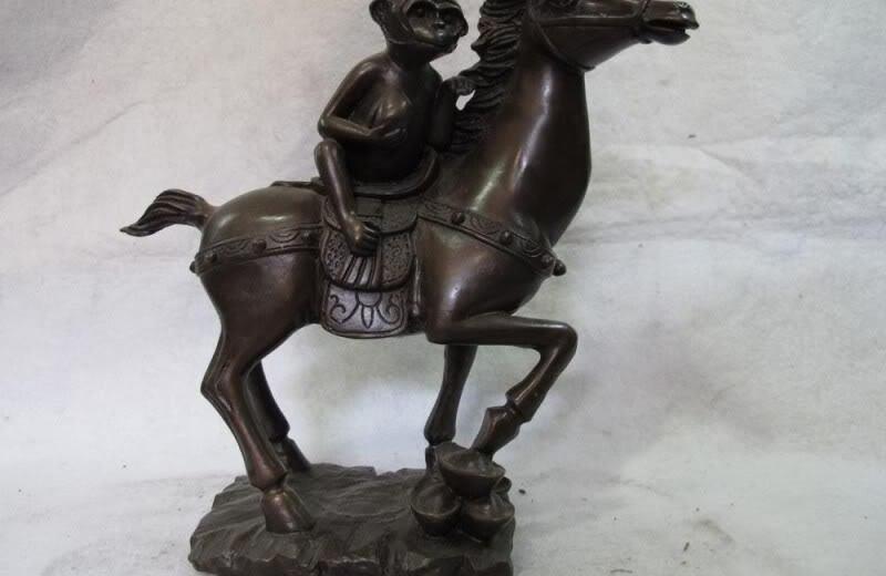 9.5 Chinese Folk Art sculpture Pure Bronze Copper Monkey Ride on Horse Statue