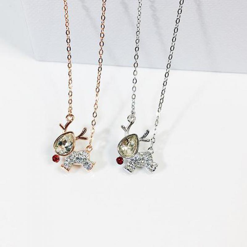 Antler pendentif Animal collier argent zircon cubique collier femmes mignon Daity bijoux cadeau de fête des mères