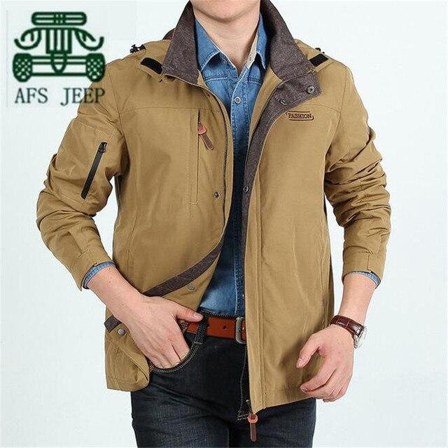 AFS JEEP Summer Autumn 2016 Men's Cotton Casual Cargo Jacket,Wholesale Price Men's Brand Sportswear,Detachable Hat solid Jacket