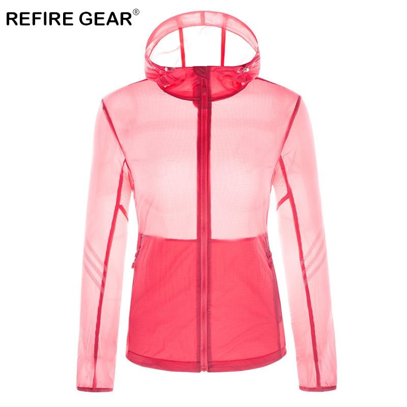 ReFire Gear Summer Sun Protective Breathable Skin Jacket Women Waterproof Windproof Quick Dry Jacket Hooded Outdoor Sport Jacket