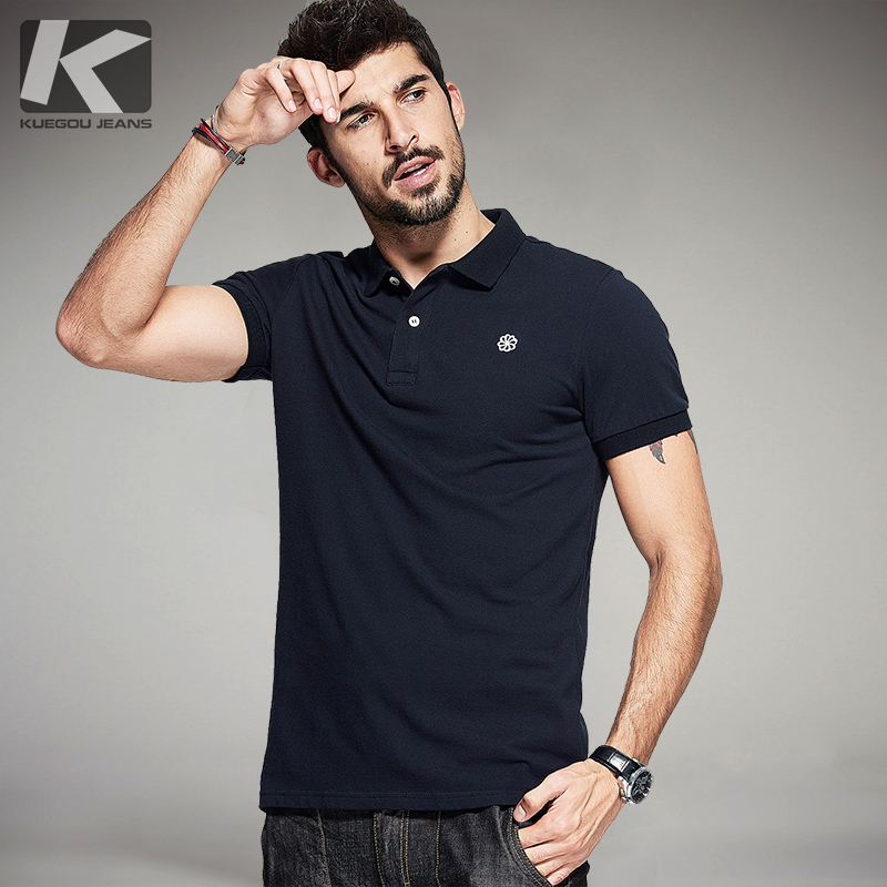 Kuegou summer mens 100 cotton polo shirts embroidery for Men s 100 percent cotton dress shirts