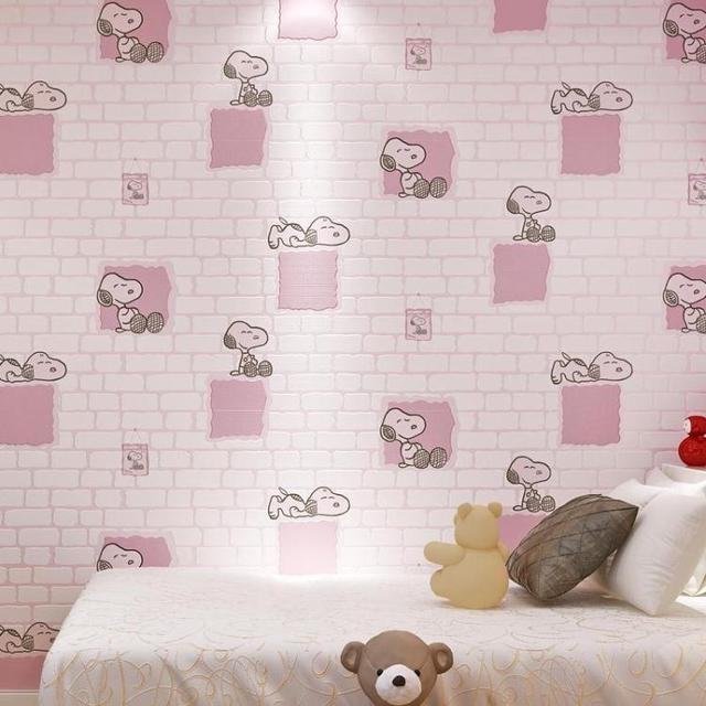 have glue Boy girl children room anime non-woven wallpaper 3D Korean cartoon movie cute little dog bedroom dormitory wall paper