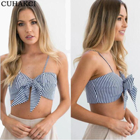 CUHAKCI 2017 Women Party Tanks Tops Casual Crop Top Bow Striped Camisole Unadjustable Straps Padded Bustier