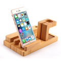 Allin1 Bamboo Charging Mobile Stand Phone Holder 4USB Support Telephone for Apple Watch iPhone Samsung Galaxy HTC Soporte Tablet