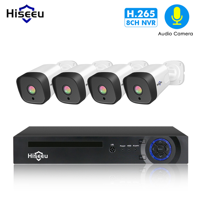 Hiseeu 8CH 1080P POE NVR CCTV Security System 4PCS 2.0MP Audio Record IP Camera IR P2P Outdoor Video Surveillance Kit 1TB HDD