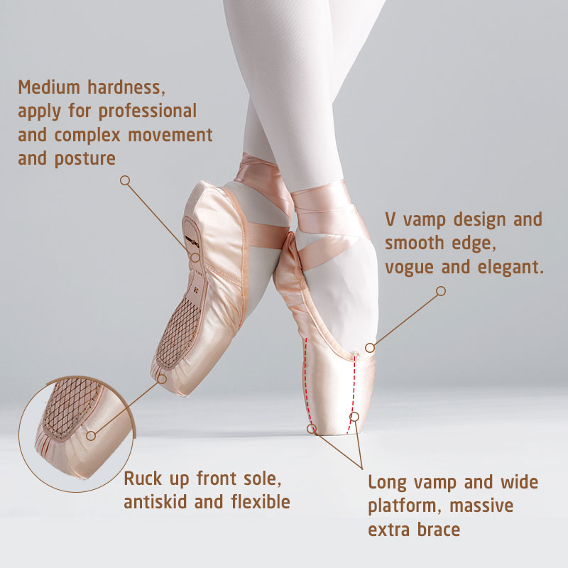 Closeout Deals›Professional Ballet Pointe Shoes Girls Women Ladies Satin Ballet Shoes With Ribbons