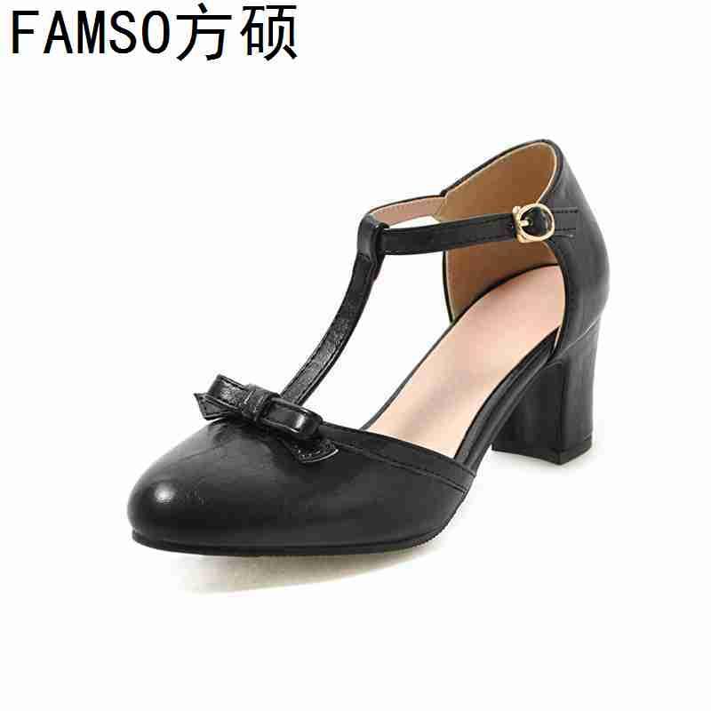 FAMSO 2019 New Arrival Women Sandals Shoes Black 5Colors T strap Round toe Platform Pumps Shoes