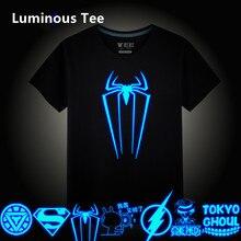 Height 100-185CM 3D T-Shirt children Luminous Tee Shirt Summer Print Tops Light Short-sleeve Iron Man Batman Superman Suitable