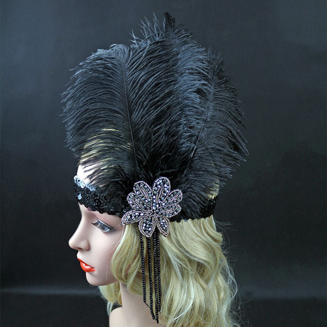 Fashion Black Rhinestone Beaded Sequin Hair band 1920s Vintage Gatsby Party Headpiece Women Flapper Feather Headband