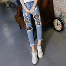 Nonis 2017 Summer Ripped Jeans Women Hollow out Holes Mesh Boyfriend JeansStreet Sexy Demin Pants Straight Long Trousers