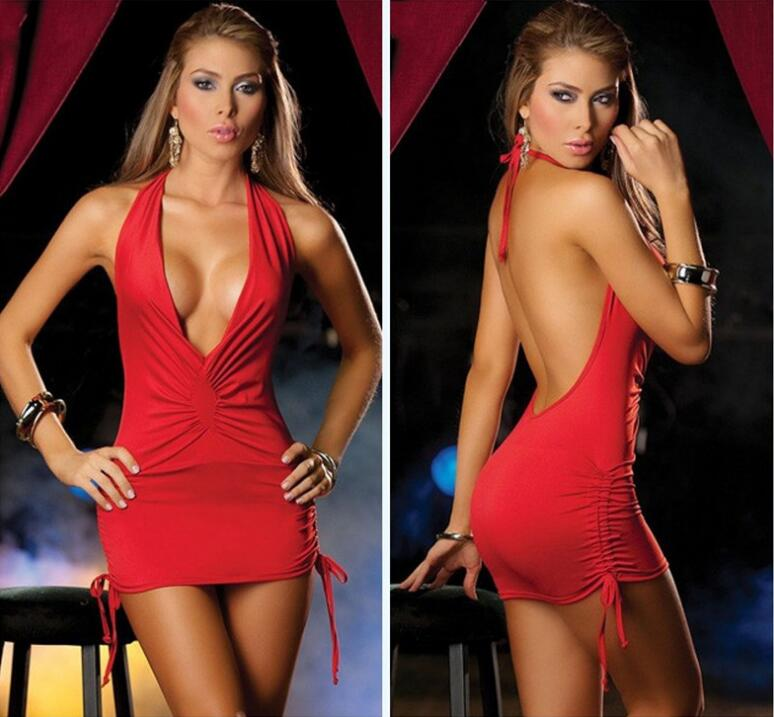 Women Sexy Lingerie Deep V Hollow Night Club Party Mini Bodycon Pleated Bondage Dresses