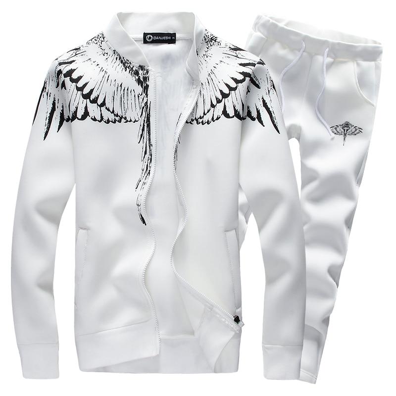 9893bfee Спортивные костюмы комплект Для мужчин 2019 новый бренд Повседневное крыло  печать спортивный костюм комплекты Для мужчин 2 шт толстовка с кап.