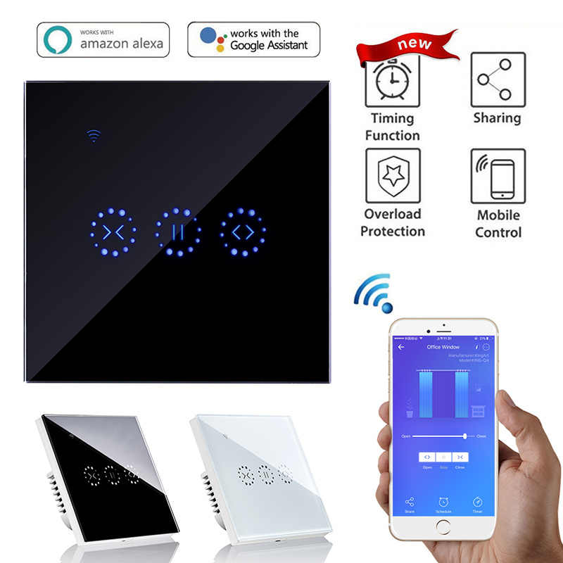 Smart WIFI Rumah Sentuh Listrik Blinds Tirai Switch Ewelink Aplikasi Kontrol Suara Oleh Alexa Echo untuk Batas Mekanis Tirai Motor