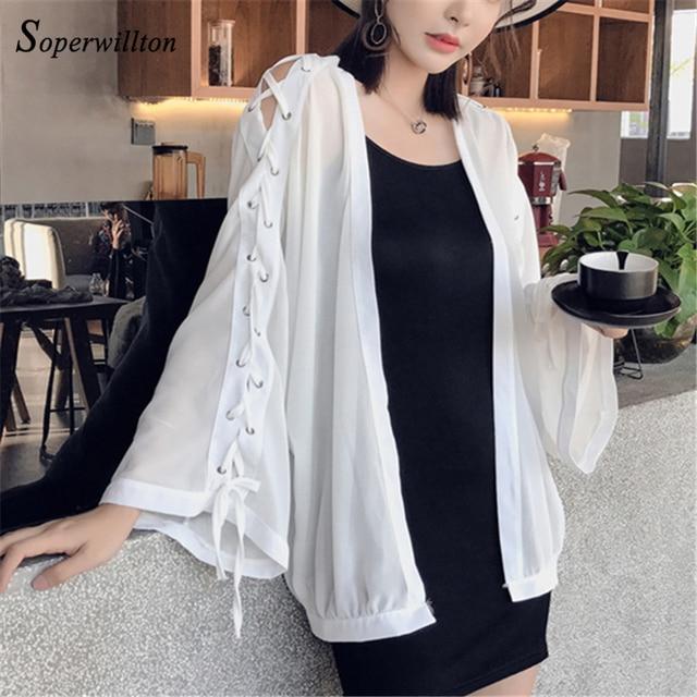 517e9353e7df5 2018 New Summer Chiffon Kimono Cardigan Women Loose Lace Up Blouses Shirts  Sunscree Beach Shirt Cardigans
