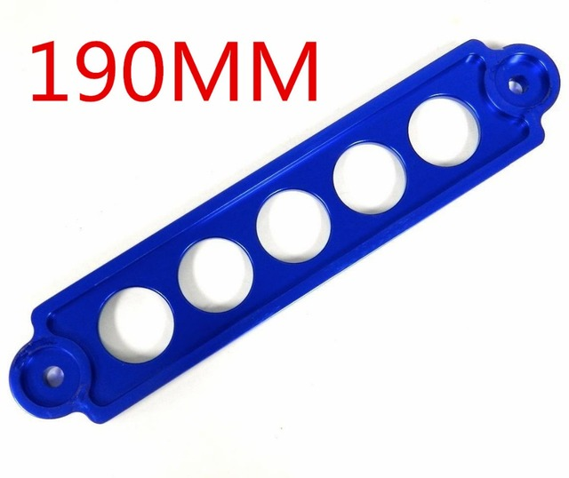 5 Holes 190MM Blue Color CHROME BILLET ALUMINUM BATTERY TIE DOWN BRACKET FOR Toyota BMW -Blue