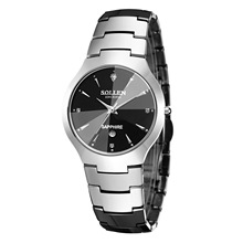 SOLLEN tungsten steel men's watch business watch waterproof men and women watch calendar minimalist steel table genuine