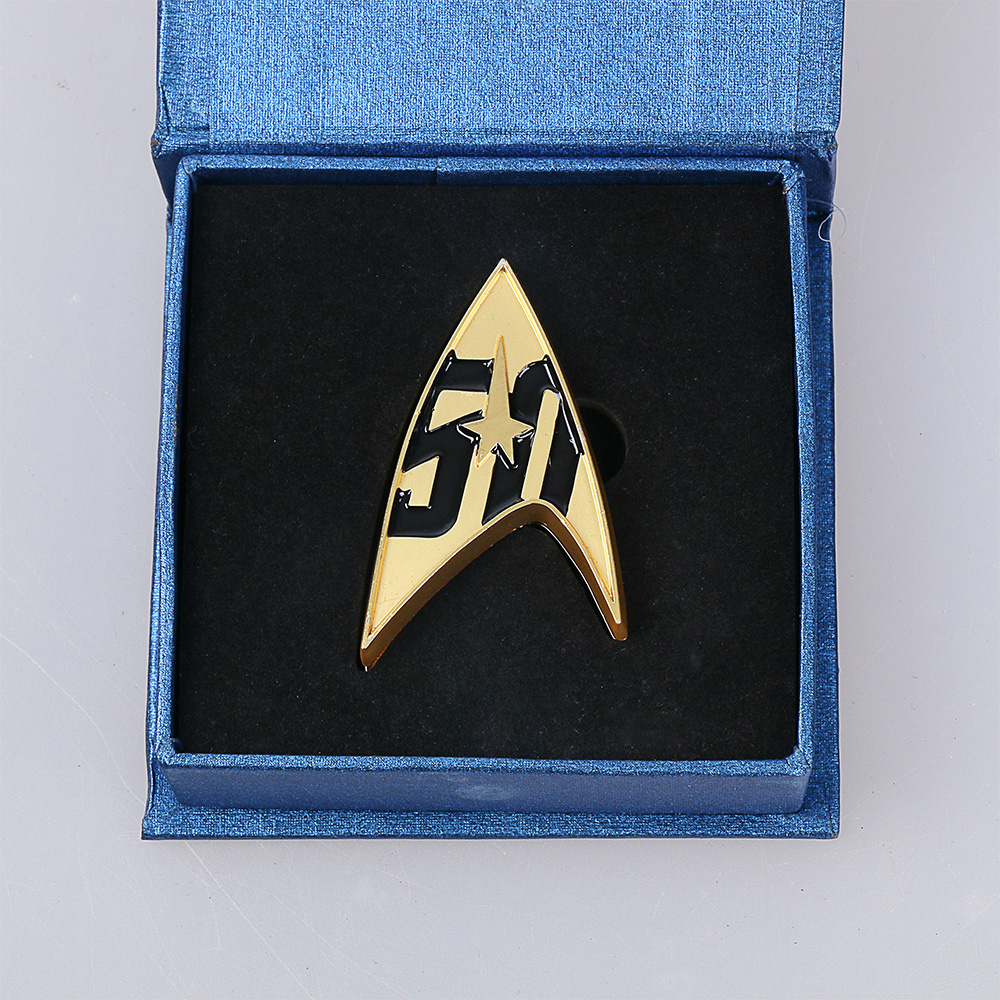 Cos Star Trek Badge Star Trek 50th Anniversary Magnetic Badge Pin Alloy With Gift Box New Cosplay Party Halloween Prop