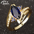 Wholesale fashion ladies wedding Rings IP Gold Plated Engagement finger Ring for women blue blue zirconia jewelry
