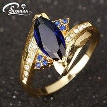 Venta al por mayor señoras de la manera del Anillo de dedo de Compromiso Anillos de bodas de Oro Chapado IP para las mujeres azul azul zirconia joyería