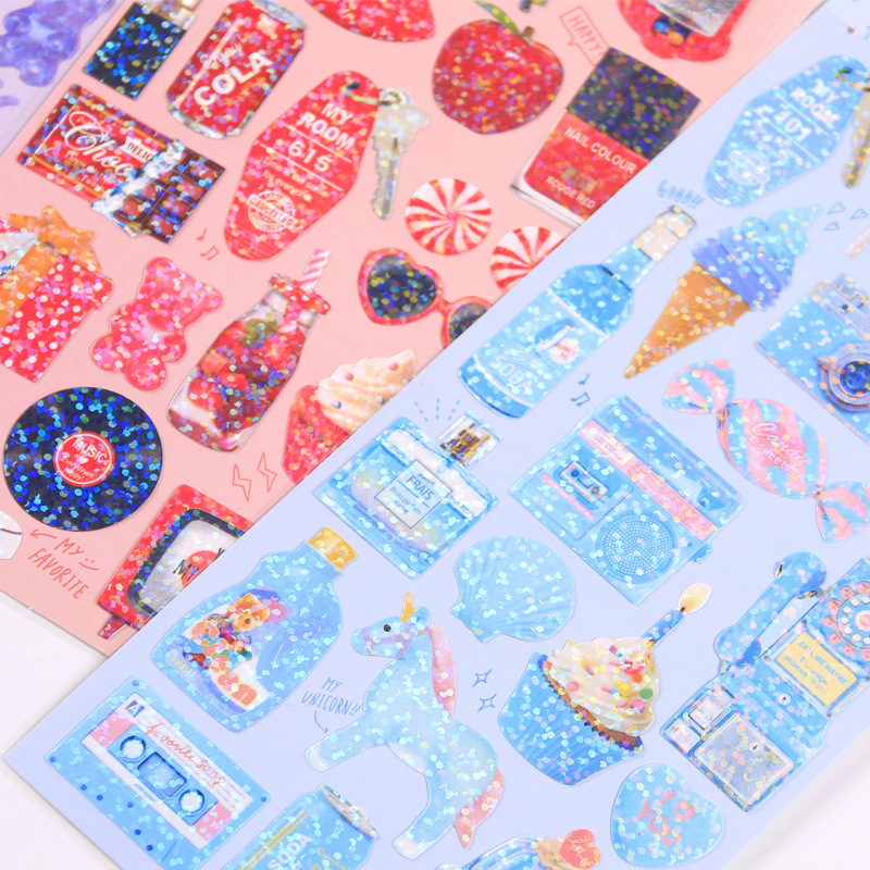 Image 2 - 20 sets/lot Kawaii Stationery Stickers Cute sparkling Diary Planner Decorative Mobile Stickers Scrapbooking DIY Craft Stickers-in Stationery Stickers from Office & School Supplies
