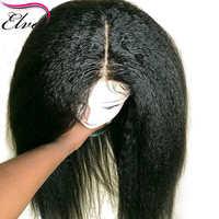 Peluca de cabello humano con división frontal, malla con división frontal de 13x6, prearrancada, densidad del 150%, cabello brasileño liso Remy Elva con pelo de bebé