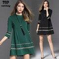 2017 ropa de las mujeres suelta sólido verde negro mujeres dress algodón grande más el tamaño de la vendimia ocasional otoño primavera dress mujeres c9