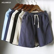 Aolamegs Мужчины Пляжные Шорты Досуг Большие Свободные Рубашки Хлопок Белье Мода Повседневная Свет Homme Высочайшее качество Лето High Street 5XL